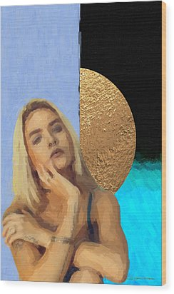 Wood Print featuring the digital art Golden Girl No. 4  by Serge Averbukh