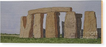 Golden Glow- Stonehenge Wood Print by Thom Glace