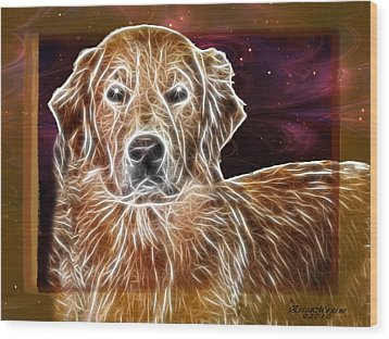 Golden Glowing Retriever Wood Print by EricaMaxine  Price