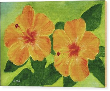 Golden Hawaii Hibiscus Flower #25 Wood Print by Donald k Hall
