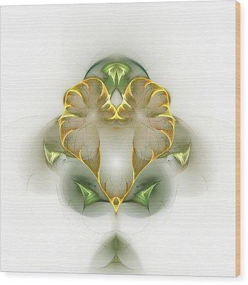 Wood Print featuring the digital art Golden Heart by Richard Ortolano