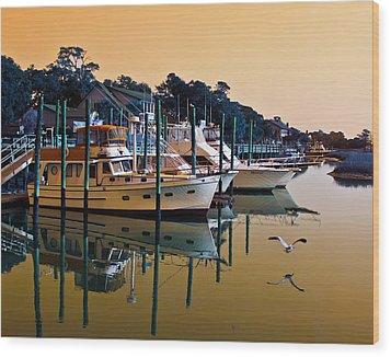 Golden Hour At The Marshwalk Wood Print