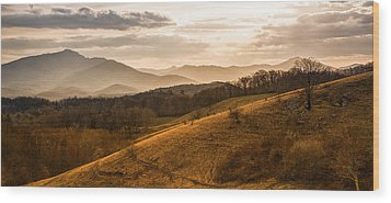 Grandfather Mountain Sunset - Moses Cone Blue Ridge Parkway Wood Print