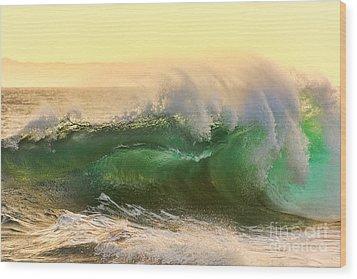 Golden Hour Waves Wood Print by Eddie Yerkish