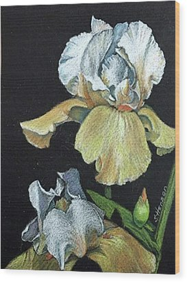 Golden Iris Wood Print