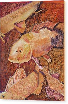 Golden Koi Wood Print by Pat Saunders-White