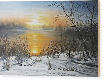 Golden Lake Sunrise  Wood Print by Vesna Martinjak