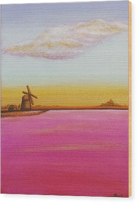 Golden Landscape With Windmill Wood Print by Beryllium Canvas