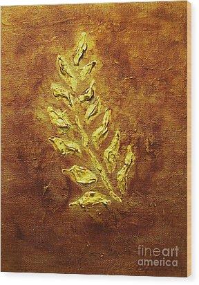 Golden Leaf Wood Print by Marsha Heiken