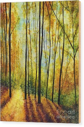 Wood Print featuring the painting Golden Light by Hailey E Herrera