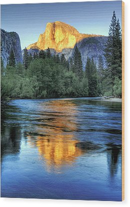 Golden Light On Half Dome Wood Print