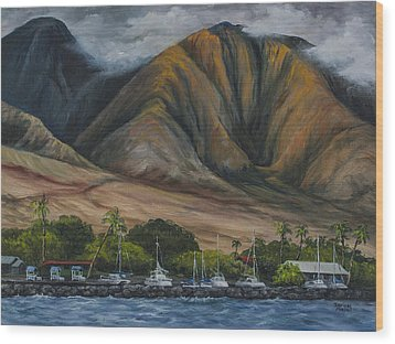 Wood Print featuring the painting Golden Light West Maui  by Darice Machel McGuire