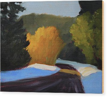 Wood Print featuring the painting Golden Light Winter Road by Nancy Merkle