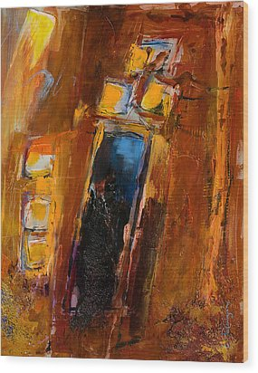 Wood Print featuring the painting Golden Lights by Elise Palmigiani