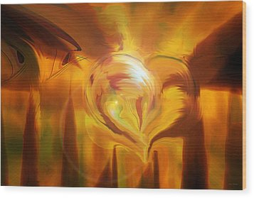 Wood Print featuring the digital art Golden Love by Linda Sannuti