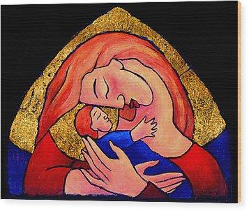 Golden Mama Wood Print by Angela Treat Lyon