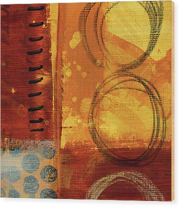 Wood Print featuring the painting Golden Marks 10 by Nancy Merkle