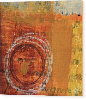 Wood Print featuring the painting Golden Marks 11 by Nancy Merkle