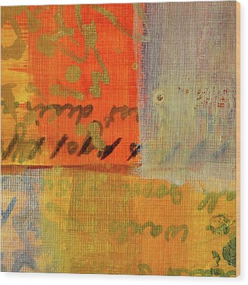 Wood Print featuring the painting Golden Marks 12 by Nancy Merkle