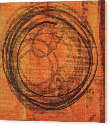 Wood Print featuring the painting Golden Marks 9 by Nancy Merkle