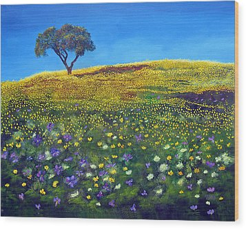 Wood Print featuring the painting Golden Meadow  by Marina Petro