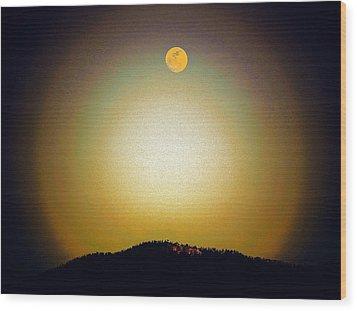 Golden Moon Wood Print