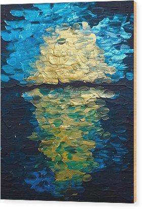 Golden Moon Reflection Wood Print