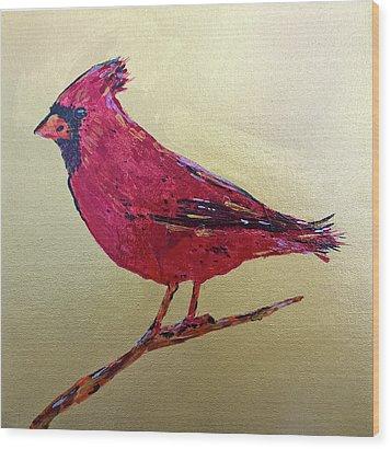 Golden Morning Cardinal Wood Print