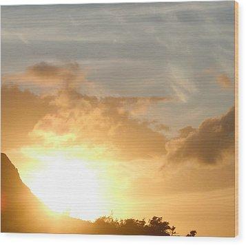 Golden Oahu Sunset Wood Print by Karen J Shine