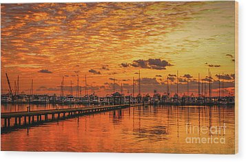 Golden Orange Sunrise Wood Print by Tom Claud