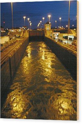 Golden Panama Canal Wood Print by Phyllis Kaltenbach