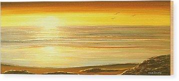 Golden Panoramic Sunset Wood Print by Gina De Gorna