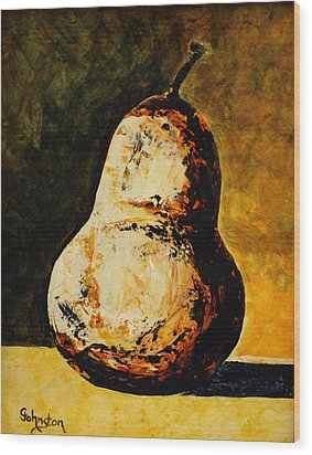 Golden Pear Wood Print by Cindy Johnston