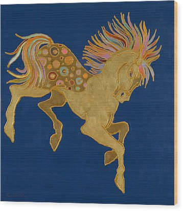 Wood Print featuring the painting Golden Pegasus by Bob Coonts
