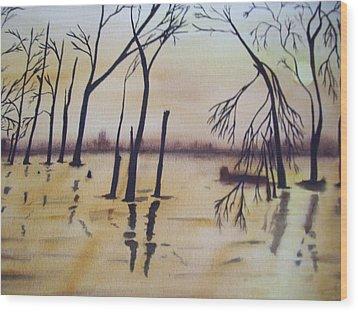 Golden Pond Wood Print by Audrey Bunchkowski