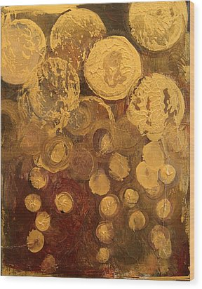 Golden Rain Abstract Wood Print