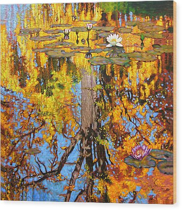 Golden Reflections On Lily Pond Wood Print by John Lautermilch