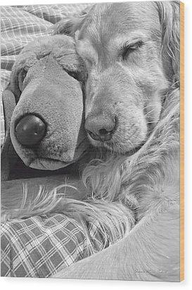 Golden Retriever Dog And Friend Wood Print by Jennie Marie Schell