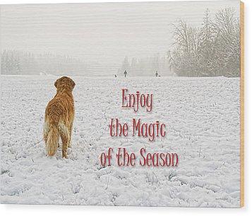 Golden Retriever Dog Magic Of The Season Wood Print by Jennie Marie Schell