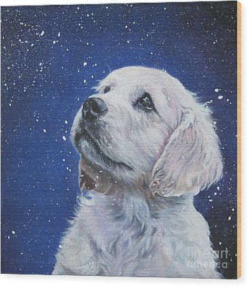 Golden Retriever Pup In Snow Wood Print