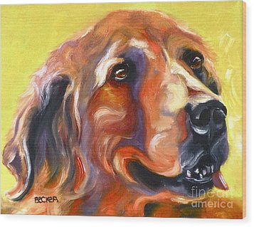 Golden Retriever The Shadow Of Your Smile Wood Print by Susan A Becker