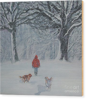 Golden Retriever Winter Walk Wood Print
