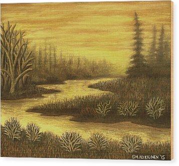 Golden River 01 Wood Print