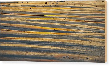 Golden Sand On Beach Wood Print