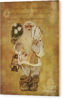 Golden Santa Card 2015 Wood Print