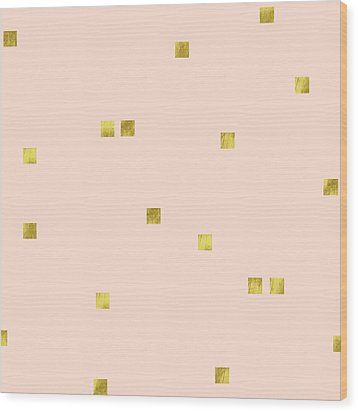 Golden Scattered Confetti Pattern, Baby Pink Background Wood Print