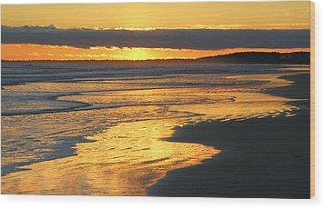 Golden Shore Wood Print by Rosanne Jordan