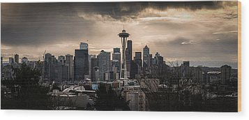 Golden Sky Seattle Wood Print by Chris McKenna