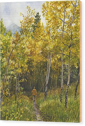 Wood Print featuring the painting Golden Solitude by Anne Gifford