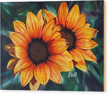 Wood Print featuring the painting Golden Sun by Laura Bell